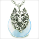 "Amulet Wolf Head Courage and Protection Powers Lucky Donut Opalite Stainless Steel Pendant on 18"" Necklace"