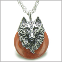 "Amulet Wolf Head Courage and Protection Powers Lucky Donut Red Jasper Stainless Steel Pendant on 18"" Necklace"