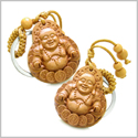 Double Lucky Happy Buddha Sitting on Coins Magic Powers Charms Set Key Chains
