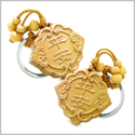 Double Lucky Good Luck Feng Shui Symbols Magic Powers Charms Set Key Chains
