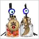 Guardian Angel Wings Magic Powers Small Car Charms or Home Decor Gem Bottles Carnelian and Quartz Amulets