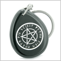 Amulet Magical Pentacle Runic Star Powerful Defense Spiritual Control Black Onyx Wish Totem Gemstone Keychain Ring