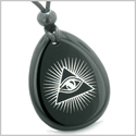 Amulet Mystical All Seeing Eye of God Triple Powers Pyramid Energies Black Onyx Wish Stone Pendant Necklace