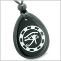 Amulet All Seeing Eye of Horus Ancient Circle of Life Spiritual Protection Black Onyx Wish Totem Pendant Necklace