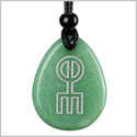 Amulet Norse Rune Spell Charm Symbol Protection and Love Powers Quartz Green Aventurine Wish Totem Pendant Necklace