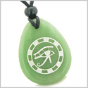 Amulet All Seeing Eye of Horus Ancient Circle of Life Spiritual Protection Green Aventurine Wish Totem Pendant Necklace