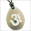 Amulet Ancient OM Tibetan Symbol Magic and Spiritual Powers Natural Agate Wish Totem Pendant Necklace