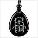 Amulet Egyptian Scarab Rebirth and Ankh Life Powers Spiritual Energy Black Onyx Wish Totem Pendant Necklace