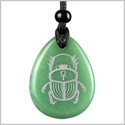 Amulet Egyptian Scarab Rebirth and Ankh Life Powers Spiritual Energy Quartz Green Aventurine Wish Totem Pendant Necklace
