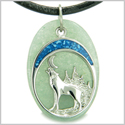 Howling Wolf and Moon Amulet Good Luck Powers Green Aventurine Gemstone Pendant on Leather Cord Necklace