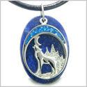 Howling Wolf and Moon Amulet Good Luck Powers Lapis Lazuli Gemstone Pendant on Leather Cord Necklace