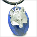 Amulet Protection and Wise Wolf Mask Good Luck Powers Lapis Lazuli Gemstone Charm Pendant on Leather Cord Necklace