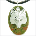 Amulet Protection and Wise Wolf Mask Spiritual Powers Unakite Gemstone Charm Pendant on Leather Cord Necklace