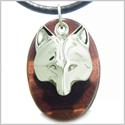 Amulet Protection and Wise Wolf Mask Evil Eye Protection Powers Red Tiger Eye Gemstone Charm Pendant on Leather Cord Necklace