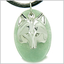Amulet Protection and Wise Wolf Mask Good Luck Powers Green Aventurine Gemstone Charm Pendant on Leather Cord Necklace