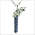 Courage and Protection Powers Wolf Head Amulet Crystal Point Lucky Charm Blue Goldstone Stainless Steel pendant on 18� Necklace