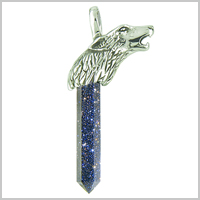 Courage and Protection Powers Wolf Head Amulet Crystal Point Lucky Charm Blue Goldstone Stainless Steel Pendant