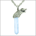 Courage and Protection Powers Wolf Head Amulet Crystal Point Lucky Charm Opalite Stainless Steel Pendant on 22� Necklace