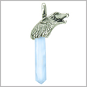 Courage and Protection Powers Wolf Head Amulet Crystal Point Lucky Charm Opalite Stainless Steel Pendant