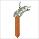 Courage and Protection Powers Wolf Head Amulet Crystal Point Lucky Charm Red Jasper Stainless Steel Pendant