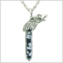 Courage and Protection Powers Wolf Head Amulet Crystal Point Lucky Charm Snowflake Obsidian Stainless Steel Pendant 22� Necklace