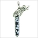 Courage and Protection Powers Wolf Head Amulet Crystal Point Lucky Charm Snowflake Obsidian Stainless Steel Pendant
