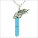 Courage and Protection Powers Wolf Head Amulet Crystal Point Lucky Charm Turquoise Stainless Steel Pendant on 22� Necklace