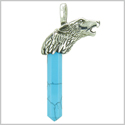 Courage and Protection Powers Wolf Head Amulet Crystal Point Lucky Charm Turquoise Stainless Steel Pendant
