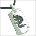 Amulet Brave Black Wolf and Protection Stainless Steel Dog Tag Pendant on 18 inch Genuine Black Leather Cord Necklace