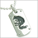 Amulet Brave Black Wolf and Protection Stainless Steel Dog Tag Pendant on 22 inch Ball Chain Necklace