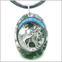 Howling Wolf and Moon Amulet Good Luck Powers Green Moss Agate Gemstone Pendant on Leather Cord Necklace