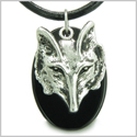 Amulet Courage and Wise Wolf Head Spiritual Protection Powers Black Onyx Gemstone Pendant on Leather Cord Necklace
