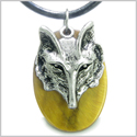 Amulet Courage and Wise Wolf Head Evil Eye Protection Powers Tiger Eye Gemstone Pendant on Leather Cord Necklace