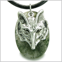 Amulet Courage and Wise Wolf Head Good Luck and Protection Powers Green Moss Agate Gemstone Pendant on Leather Cord Necklace