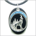 Howling Wolf and Moon Amulet Spiritual Protection Powers Black Onyx Gemstone Pendant on Leather Cord Necklace