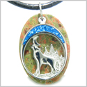 Howling Wolf and Moon Amulet Spiritual Protection Powers Unakite Gemstone Pendant on Leather Cord Necklace
