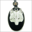 Amulet Protection and Wise Wolf Mask Spiritual Powers Black Onyx Gemstone Charm Pendant on Adjustable Cord Necklace
