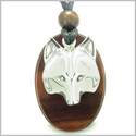 Amulet Protection and Wise Wolf Mask Evil Eye Protection Powers Red Tiger Eye Gemstone Charm Pendant on Adjustable Cord Necklace