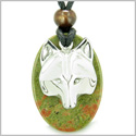 Amulet Protection and Wise Wolf Mask Spiritual Powers Unakite Gemstone Charm Pendant on Adjustable Cord Necklace