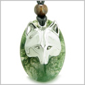 Amulet Protection and Wise Wolf Mask Good Luck Powers Green Moss Agate Gemstone Charm Pendant on Adjustable Cord Necklace