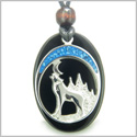Howling Wolf and Moon Amulet Spiritual Protection Powers Black Onyx Gemstone Pendant on Adjustable Cord Necklace