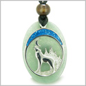 Howling Wolf and Moon Amulet Good Luck Powers Green Aventurine Gemstone Pendant on Adjustable Cord Necklace