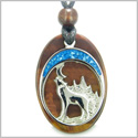 Howling Wolf and Moon Amulet Evil Eye Protection Powers Red Tiger Eye Gemstone Pendant on Adjustable Cord Necklace