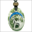 Howling Wolf and Moon Amulet Good Luck Powers Green Moss Agate Gemstone Pendant on Adjustable Cord Necklace