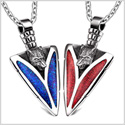 Arrowhead Howling Wolf Love Couples or BFF Set Protection Amulets Sparkling Royal Blue Red Necklaces