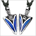 Arrowhead Howling Wolf and Paw Love Couples Best Friends Amulets Sparkling Royal Blue Adjustable Necklaces