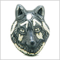 8 Pieces DIY Ceramic Handcrafted Black Wolf Head Glazed Painted Amulet 30mm X 25mm Large Hole Beads