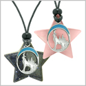 Unique Howling Wolf Moon Super Star Amulets Blue Goldstone Pink Simulated Cats Eye Love Couples Necklaces