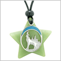 Unique Howling Wolf and Moon Super Star Amulet Protection Magic Powers Green Quartz Necklace