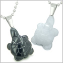 Double Lucky Turtles Love Couples or Best Friends Set Amulets Magic Energy Black Onyx White Jade Gemstones Necklaces